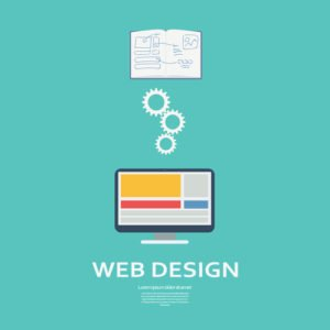 Web design process vector infographics. Website development promotional material. Smart devices and computers in flat responsive design. Eps10 vector illustration.
